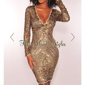 Hot Miami Styles Gold Sparkly New Years Dress NWT